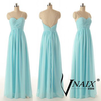 Custom Color Size Elegant Formal Zipper Up Blue Long Chiffon See Through V Neck With Beads Bridesmaid Dress Prom Dress Evening dress