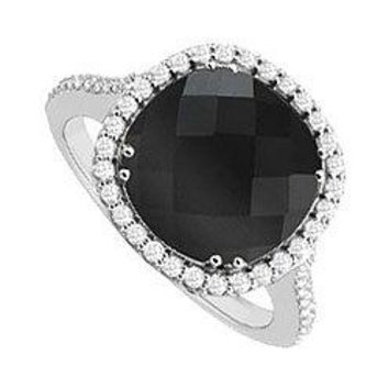 Sterling Silver Genuine Black Onyx and Cubic Zirconia Ring 2.50 CT TGW
