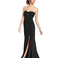 Hailey Logan Juniors' Lace-Panel Strapless Gown