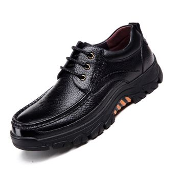 Men Genuine Cow Leather Waterproof Non Slip Soft Sole Casual Shoes