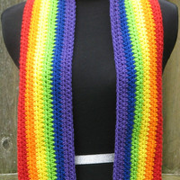 Crocheted Rainbow Scarf, LGBT, Gay Pride, Great for Parades, Marches, Rallies, Dances, Festivals, Concerts, Ready to Ship