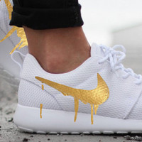 Nike Roshe Run One White with Custom Gold Candy Drip Swoosh Paint