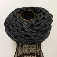 Knit Infinity Scarf- Charcoal Gray Chunky Arm Knit Infinity Scarf- Arm Knitted Eternity Scarf