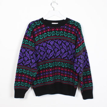Vintage 80s Sweater Black Purple Green New Wave Hipster Pullover Floral Striped Knit Nordic Sweater 1980s Ski Bunny Mod Pullover S M Medium