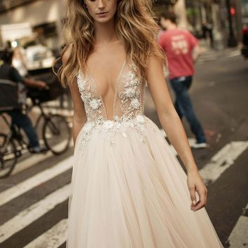 Berta Embellished Plunging V-Neck Tulle Gown (In Stores Only) | Nordstrom