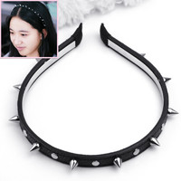 Women Lady Black Leather Spike Rivet Studded Headband Bow Hair Band Party Punk Gothic Cool Style Accessories Headwear