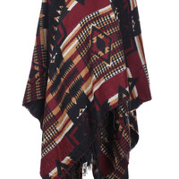 Tribal Print Shawl Cardigan W/ Fringe Trim