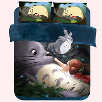 Cartoon 3D Bedding Set Bedspread Anime Totoro Minecraft Bed Sheet Boys Girls Duvet Cover funda nordic King Queen Size