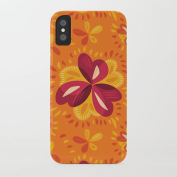 Orange And Pink Clover Abstract Floral iPhone Case by borianagiormova