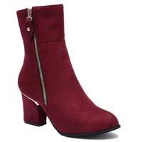 Red Laconic Zippered Mid-Calf Boots With Rivets