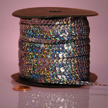 Pewter Silver Grey Holographic Faceted Extra Sparkle String 6mm x 80 yards Sequins