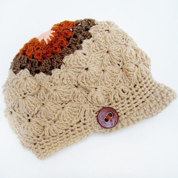 FREE SHIPPING - Crochet Shell Slouchy Brim Hat - Tan, Brown, Burnt Orange & Peach with Brown button