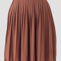 Romantic Stroll Pleated Skirt In Brown