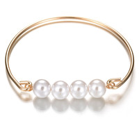 Awesome Shiny Gift Great Deal New Arrival Korean Simple Design Alloy Bangle Stylish Luxury Pearls Ring Hot Sale Accessory Bracelet [8581970567]
