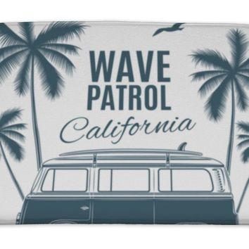 Bath Mat, Vintage Retro Surf Van With Palms And A Gull
