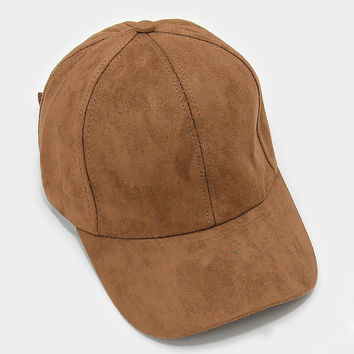 Brown Faux Suede Baseball Cap With Velcro Closure, One Size Fits All, Unisex Gift Idea