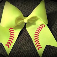 "Softball/Baseball Bow 3""Grosgain with 5"" Tails with Red Vinyl Laces"