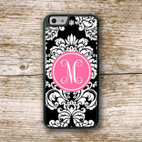 Floral Iphone case, Pretty Iphone 6 case, Damask Iphone 6 cover, Black damask hot pink - Pretty Iphone case, Monogram gifts for women (9759)