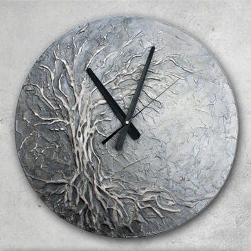 Large Wall Clock, Tree of Life Home Decor, Silver wall Clock,  Modern WALL CLOCK, Unique wall clock,  Tree of Life Painting