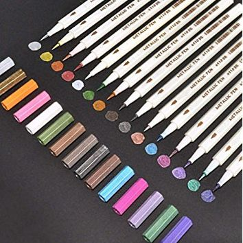 15 Colors Metallic Brush Marker Pens, Feela Metallic Calligraphy Painting Pen for Card Making, Rock Painting, Glass, Metal, Wood,Script Lettering, DIY Photo Album
