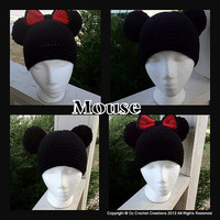 CROCHET PATTERN Mickey and Minnie beanie INSTANT Download / Crochet Pattern Mickey Mouse beanie / Crochet Minnie beanie / Pom Pom Beanie