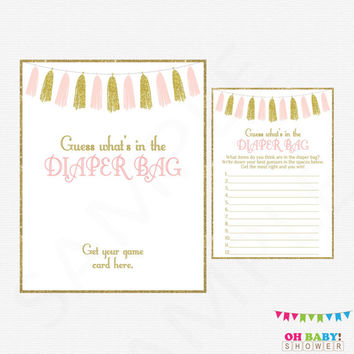 Pink and Gold Baby Shower Games, Guess What's in the Diaper Bag, Baby Shower Printables, Diaper Bag Game, Instant Download, Tassels, TASPG