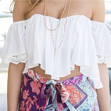 Esmerelda Chic White Flowy Crop Top