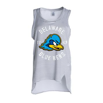 Official NCAA Delaware UD Blue Hens Women's Stripe Ath Lesiure Tank Top