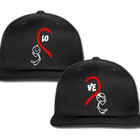 lo ve love girl and boy couple matching snapback cap