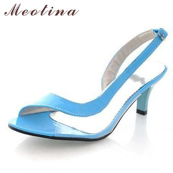 Meotina Shoes Women Sandals Summer Ladies Sandals Transparent Neon Low Heels Designer