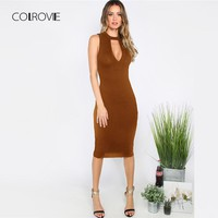 COLROVIE Brown Deep V Neck Cut Out Slim Party Dress Women 2018 New Solid Knee Length OL Bodycon Dress Sexy Female Dresses