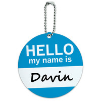 Davin Hello My Name Is Round ID Card Luggage Tag