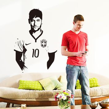 Art design cheap home decoration vinyl Neymar da Silva soccer wall sticker removable house decor famous football player decal