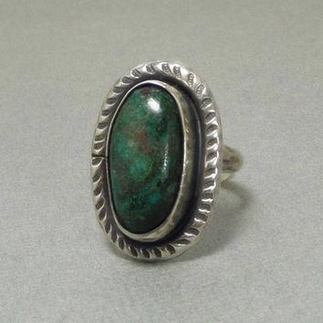 OLD PAWN Vintage Native American Turquoise RING Hand Stampings Sterling Silver Navajo Ring Size 6 1/2 c.1950s, Womens Jewelry Rings