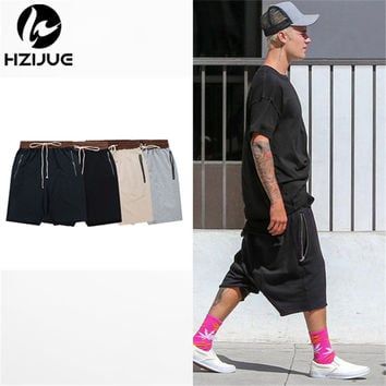HZIJUE streetwear hip hop dance clothes stage for men black/grey/khaki short mens stretch cotton fear of god sweat jogger shorts
