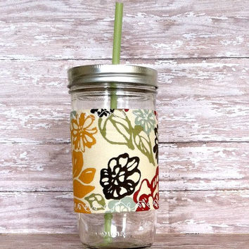 Mason Jar Tumbler 24oz Mustard Red Brown Floral Insulated Cozy BPA Free Straw -Eco Friendly Travel Mug Great Gift
