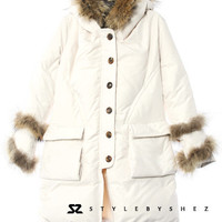 Ultra-luxe Raccoon Fur Hooded Cuff Trimmed  Warm Mid Length White Down Jacket
