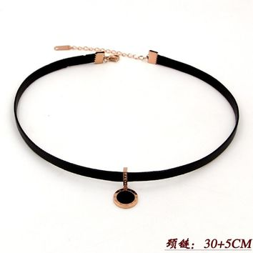 2018 Fashion Love Shell Black Crystal Roman Numerals Round Wax Rope Chokers Necklace Stainless Steel Women Party Christmas Gift