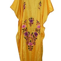 Womens Kimono Caftan Kashmiri Embroidered Yellow Maxi Kaftan Bohemian House Dress: Amazon.ca: Clothing & Accessories