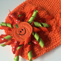 Baby Pumpkin Hat - Newborn Hat for Fall Outfit - Orange Hat for Baby Girl - Crochet Hat for Fall - Warm Hat - Fall Photo Prop -Baby Girl Hat