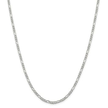 925 Sterling Silver 3mm Pave Flat Figaro Chain Necklace, Bracelet or Anklet