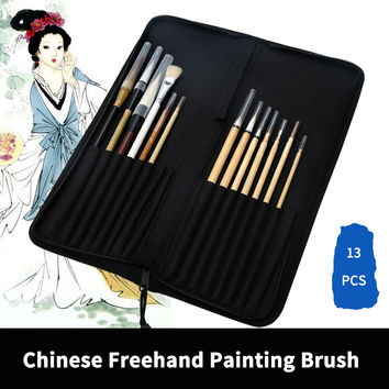 BGLN 13Pcs Chinese Freehand Painting Brush With Bag Calligraphy Pen Brush Weasel Hair Brush Artist Drawing Brush