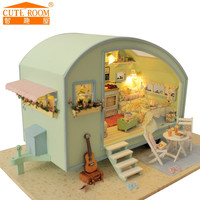 2016 New Home Decoration Crafts Wooden Doll Houses Miniature DIY dollhouse Furniture Kit Room LED Lights Gift A016 free shipping