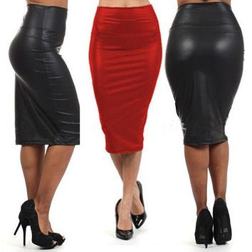 hirigin Women PU Leather High Waist Black Knee Length Straight Package Hip Pencil Skirt