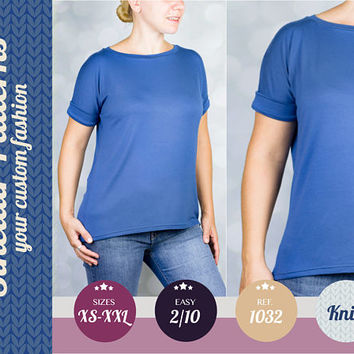 Knit tee for women pdf sewing pattern with step by step sewing tutorial (easy/beginners) XS-XXL plus size