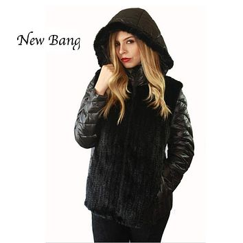 New Design Real Mink Fur Patchwork 90% Duck Down Filling Women Winter Down Coat Hooded Short Jacket