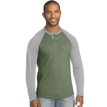 Hanes Men's FreshIQ X-Temp Colorblock Long-Sleeve Raglan Henley Tee Style: 5A60-Forest Grove/Mid-Charcoal Heather XL