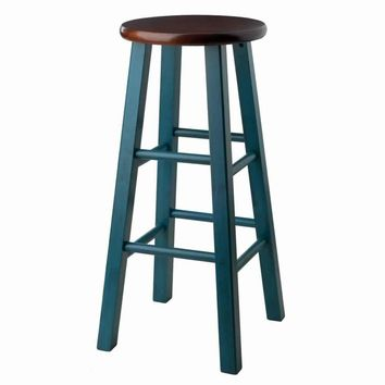 "Ivy 29"" Bar Stool Rustic Teal w/ Walnut Seat"