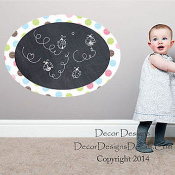 Polka Dot Border Chalkboard Vinyl Wall Decal Sticker