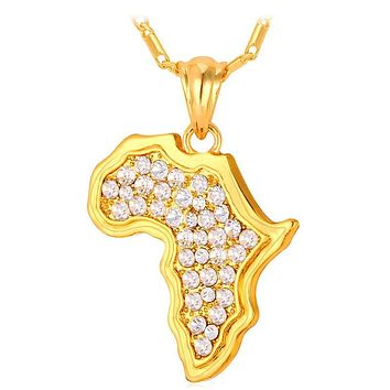 Africa Map Bling Rhinestone Necklace African Heritage